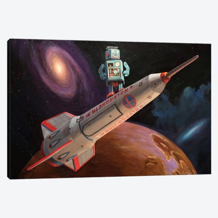 Rocket Surfer Canvas Print #EJR19} by Eric Joyner Canvas Wall Art
