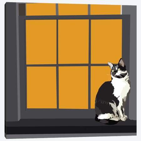 Cat on a Window Sill I Canvas Print #EKA15} by Emily Kalina Art Print
