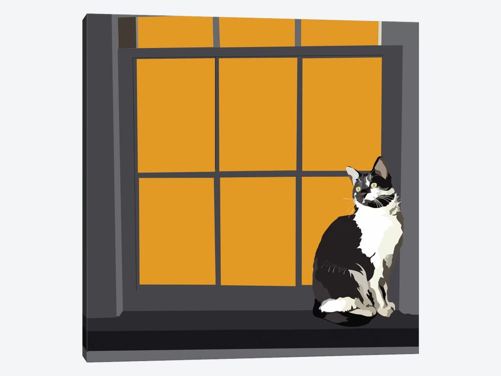 Cat on a Window Sill I by Emily Kalina 1-piece Canvas Art