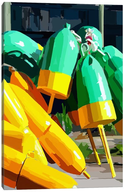 Vibrant Buoys I Canvas Art Print