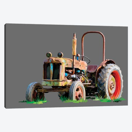 Vintage Tractor X 3-Piece Canvas #EKA42} by Emily Kalina Canvas Art Print
