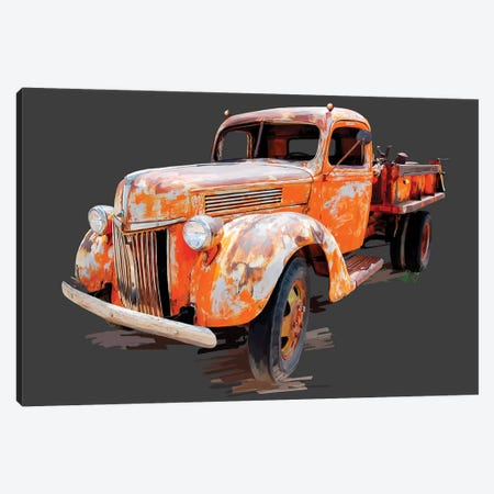 Vintage Truck V Canvas Print #EKA53} by Emily Kalina Canvas Artwork