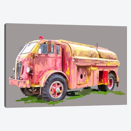 Painterly Firetruck Canvas Print #EKA8} by Emily Kalina Canvas Art Print