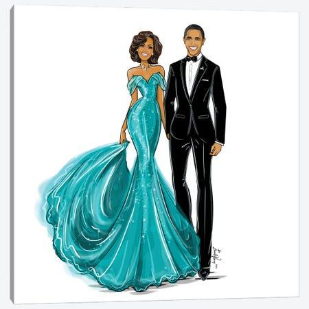 Michelle & Barack Obama Canvas Print #EKN22} by Emma Kenny Canvas Art
