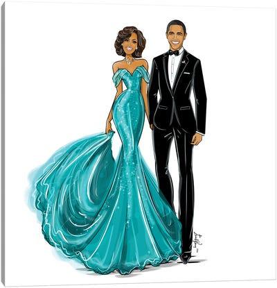 Michelle & Barack Obama Canvas Art Print