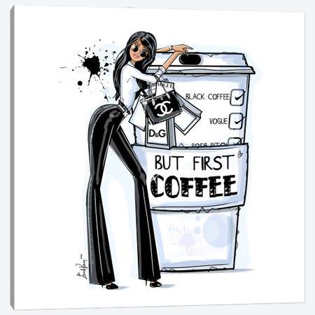 But First Coffee Canvas Print #EKN35} by Emma Kenny Canvas Artwork