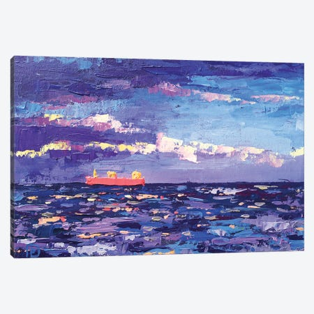 Red Ship In The Blue Sea Canvas Print #EKP48} by Ekaterina Prisich Canvas Art
