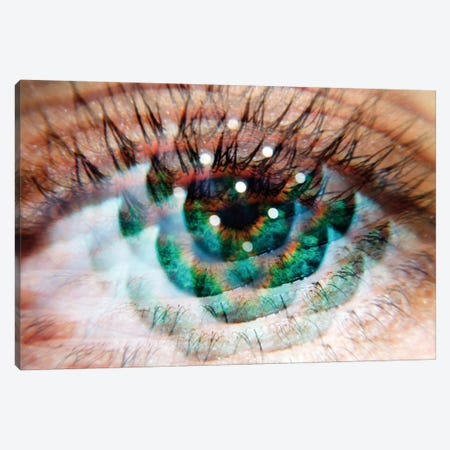 Eye Am Green Canvas Print #EKU30} by Elena Kulikova Canvas Art
