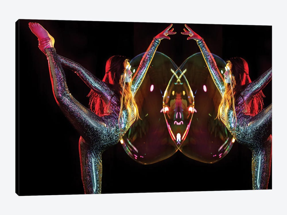 Metallic Rainbow Dancer Mirrored 1-piece Canvas Art Print