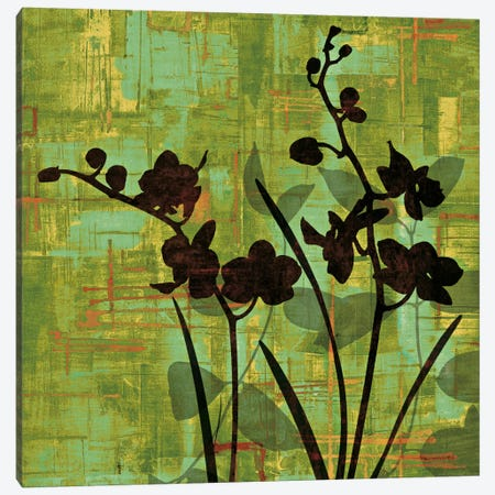 Silhouette On Green Canvas Print #ELA70} by Erin Lange Canvas Art Print