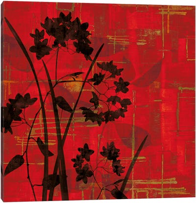 Silhouette On Red Canvas Art Print