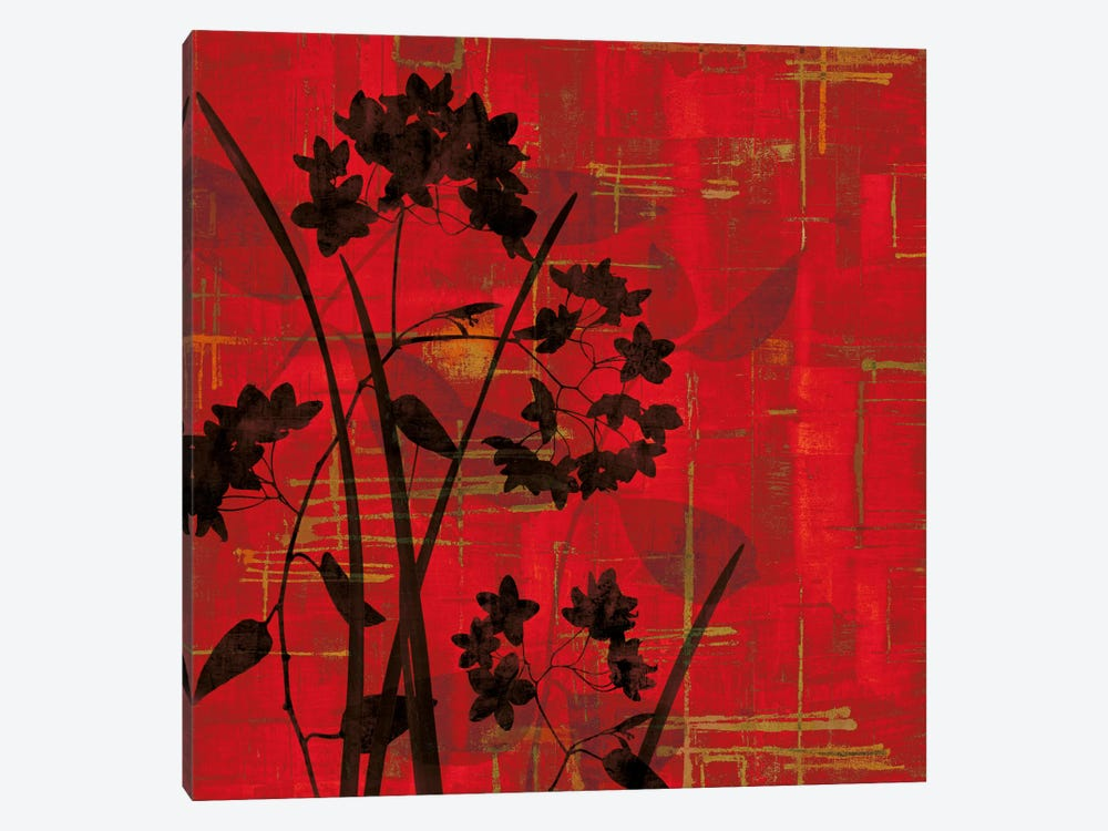 Silhouette On Red by Erin Lange 1-piece Canvas Wall Art