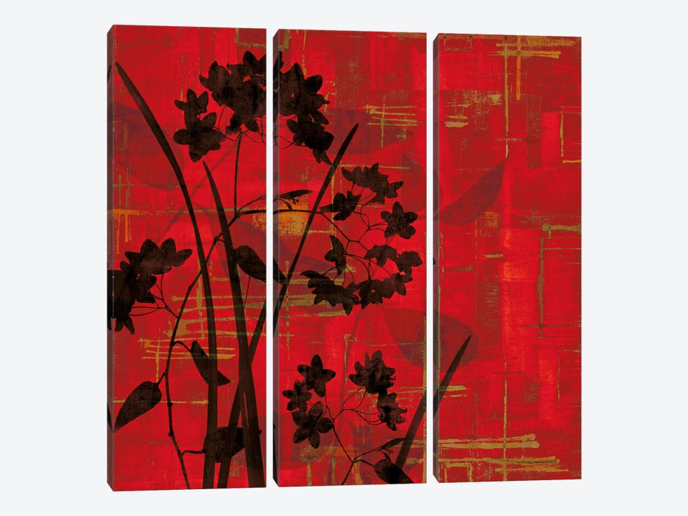 Silhouette On Red by Erin Lange 3-piece Canvas Wall Art