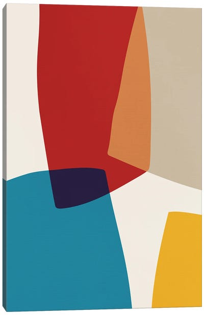 Abstract Red Yellow Blue Beige II Canvas Art Print