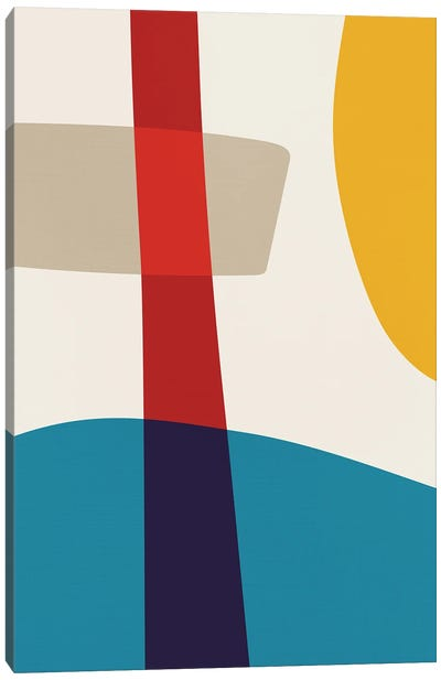 Abstract Red Yellow Blue Beige III Canvas Art Print