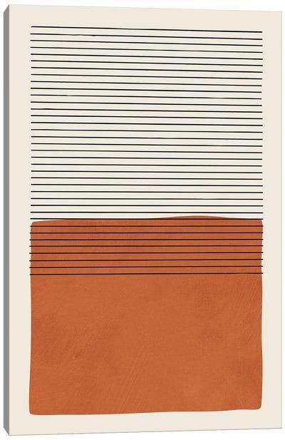 Burnt Orange Black Lines Canvas Art Print