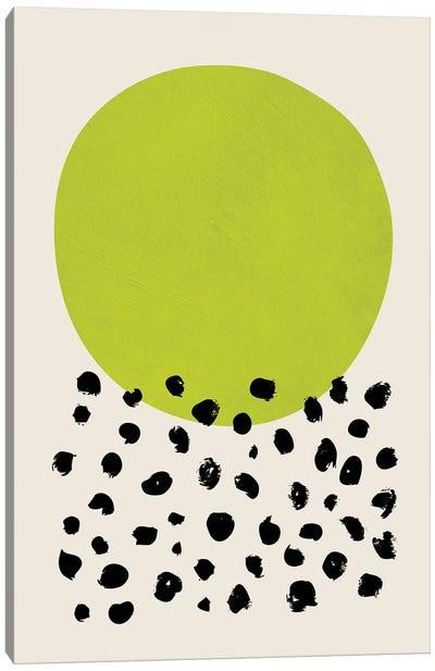 Chartreuse Green Black Dots Canvas Art Print