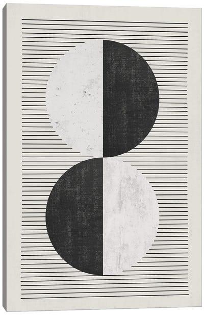 Black & White Circles Black Lines Canvas Art Print