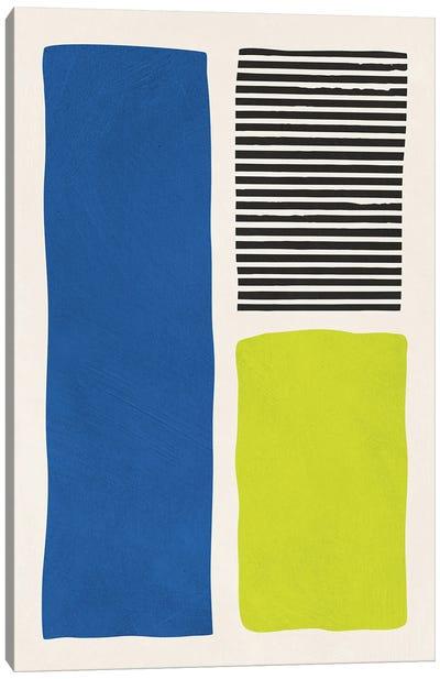 Chartreuse Green Blue Black Lines Canvas Art Print