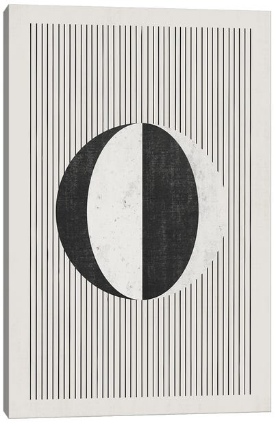 B&W Circle Vertical Lines Canvas Art Print