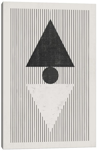 B&W Triangles Vertical Lines Canvas Art Print