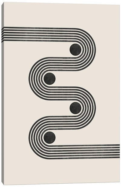 Beige Black Retro Lines II Canvas Art Print