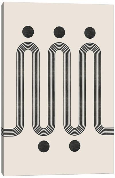 Beige Black Retro Lines III Canvas Art Print
