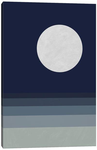 Full Moon Over Sea Canvas Art Print