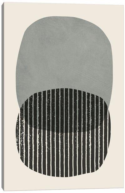 Bold Gray Black Circles Canvas Art Print