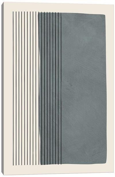 Gray Color Block Vertical Lines Canvas Art Print