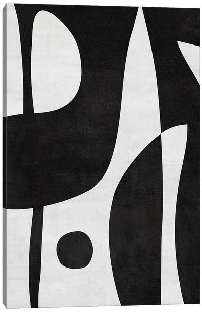 Black & White Abstract Shapes & Dot Canvas Art Print