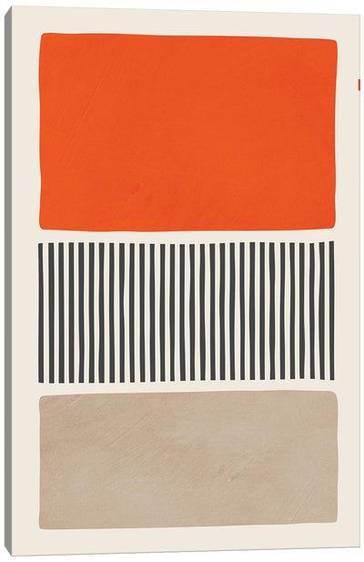 Bright Orange Beige Black Bold Canvas Art Print