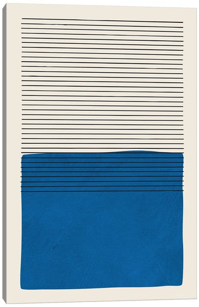 Deep Blue Horizontal Lines Canvas Art Print