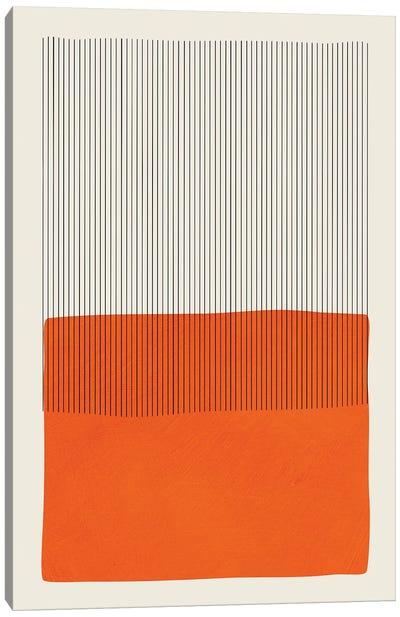 Bright Pop Orange Black Lines Canvas Art Print
