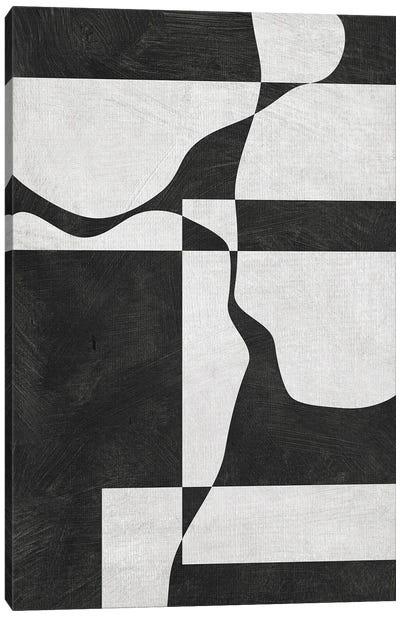 B&W Minimalist 3 Heads Shapes Canvas Art Print