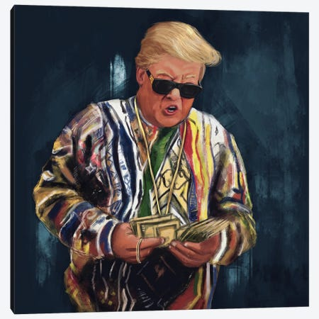 Biggie Trump Canvas Print #ELC6} by El'Cesart Canvas Art Print