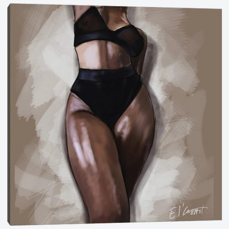 Black Woman Canvas Print #ELC7} by El'Cesart Art Print