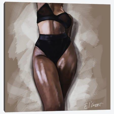 Black Woman Canvas Print #ELC7} by El'Cesart Art Print
