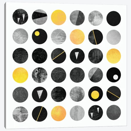 Black And Yellow Dots Canvas Print #ELF10} by Elisabeth Fredriksson Canvas Wall Art