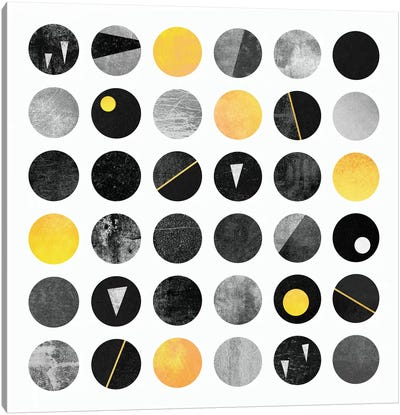 Black And Yellow Dots Canvas Print #ELF10
