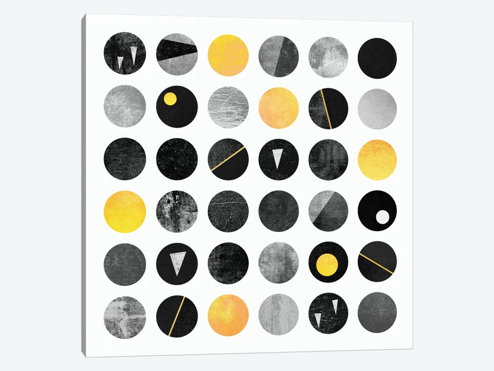 Black And Yellow Dots by Elisabeth Fredriksson 1-piece Canvas Artwork