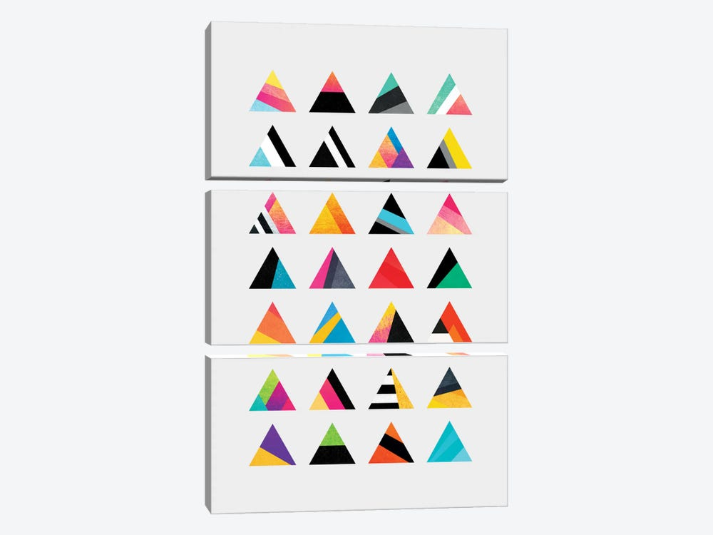 Triangle Variation by Elisabeth Fredriksson 3-piece Canvas Art Print