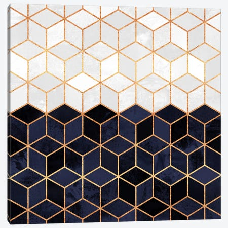 White And Navy Cubes Canvas Print #ELF116} by Elisabeth Fredriksson Canvas Wall Art