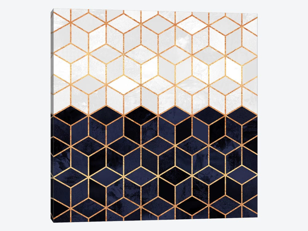 White And Navy Cubes by Elisabeth Fredriksson 1-piece Art Print