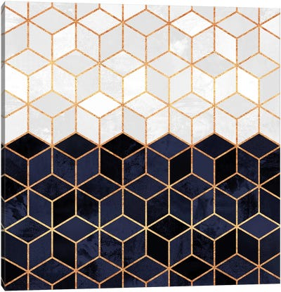 White And Navy Cubes Canvas Art Print