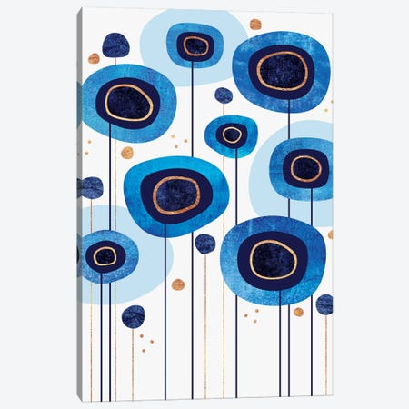 Floral Blues Canvas Print #ELF136} by Elisabeth Fredriksson Canvas Artwork