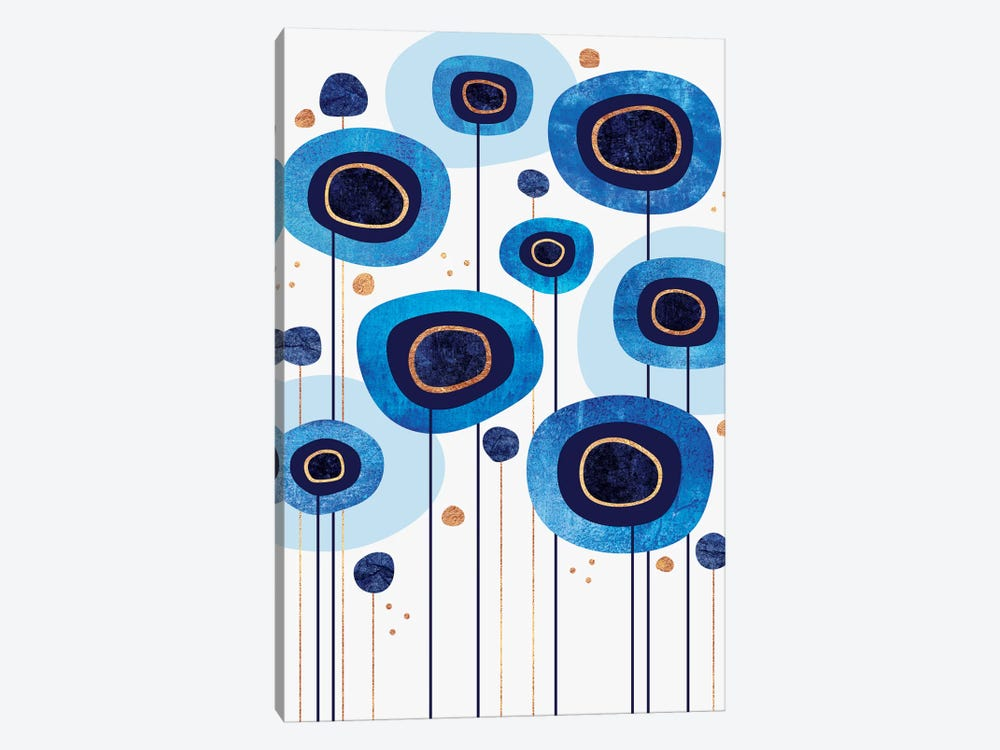 Floral Blues by Elisabeth Fredriksson 1-piece Canvas Art Print