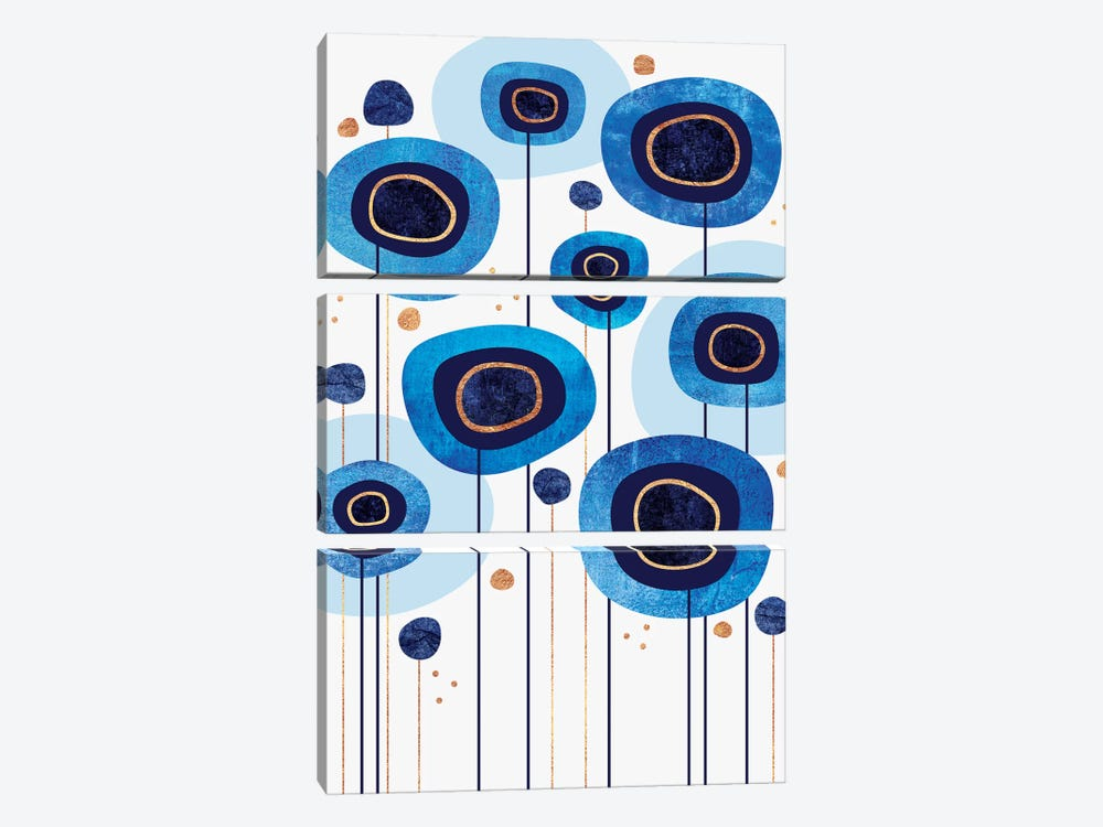 Floral Blues by Elisabeth Fredriksson 3-piece Canvas Art Print