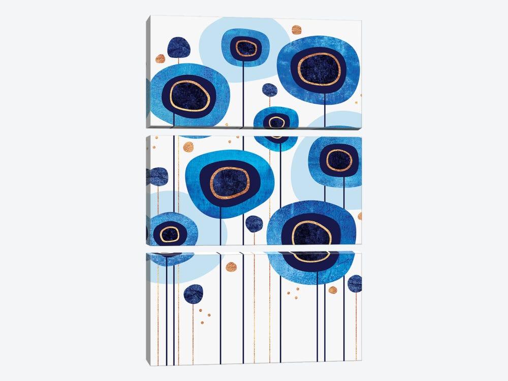 Floral Blues by Elisabeth Fredriksson 3-piece Canvas Art Print