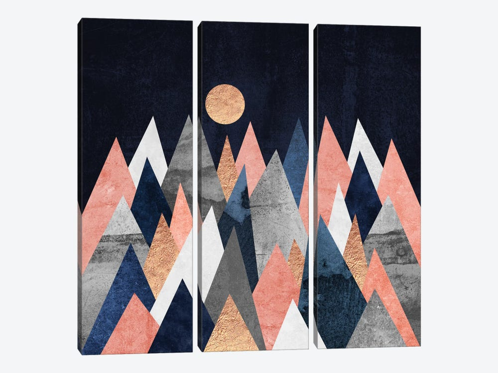 Gold Moon by Elisabeth Fredriksson 3-piece Canvas Print